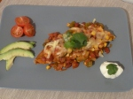 Mexi-Beans on Roasted Sweet Potato Boats