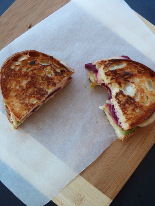Beetroot, Avocado & White Bean Grilled Cheese