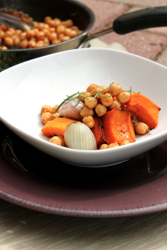 Roasted Butternut Squash with Spiced Chickpeas