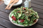 Zucchini, French Bean, Semi-Dried Tomato Salad with Tahini Dressing