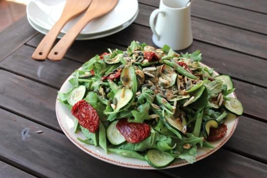 Zucchini, French Bean, Semi-Dried Tomato Salad with Tahini Dressing