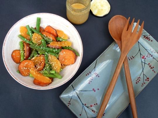 Sweet Potato & Asparagus Salad with Sesame Orange Dressing