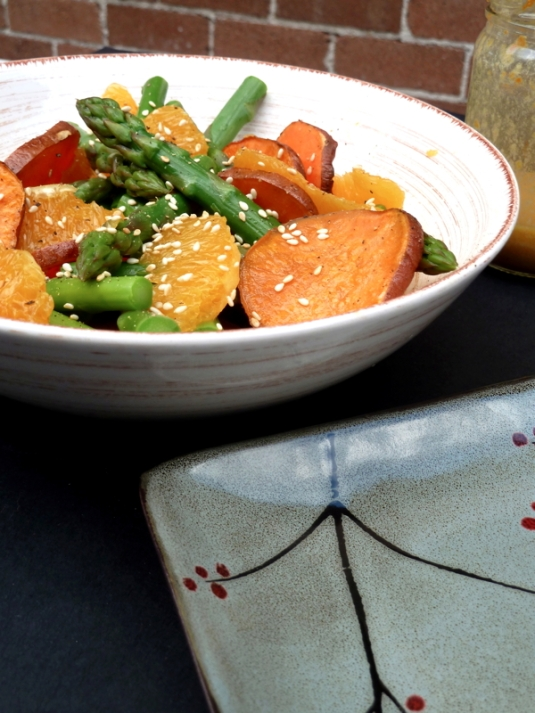 Sweet Potato & Asparagus Salad with Sesame Orange Dressing