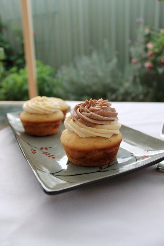 Chocolate Swirl Vanilla Cupcakes with Mocha Buttercream