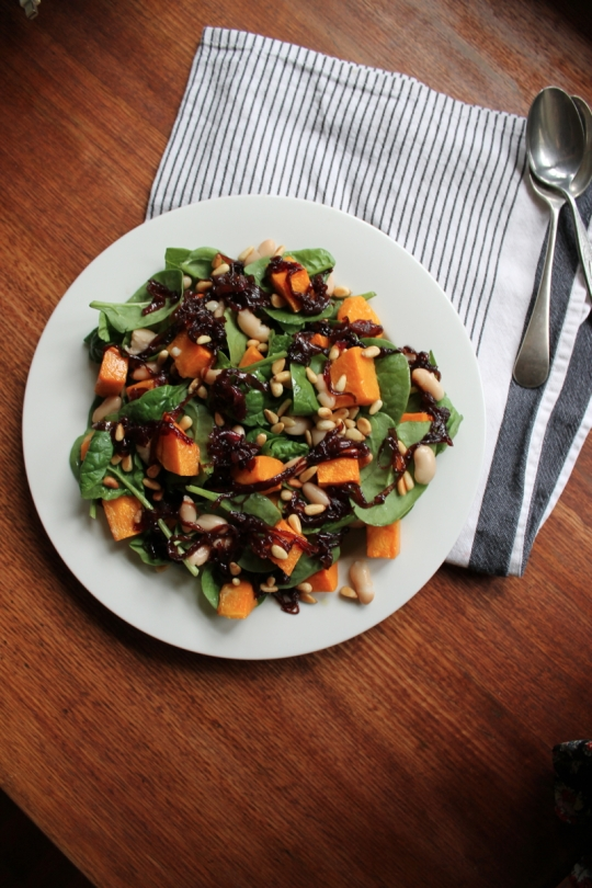 Spinach, Pumpkin, Pine Nut, Cannellini Bean Salad with Caramelised Red Onions.