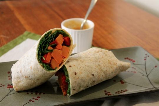 Warm Roast Vegetable Hummus Wraps
